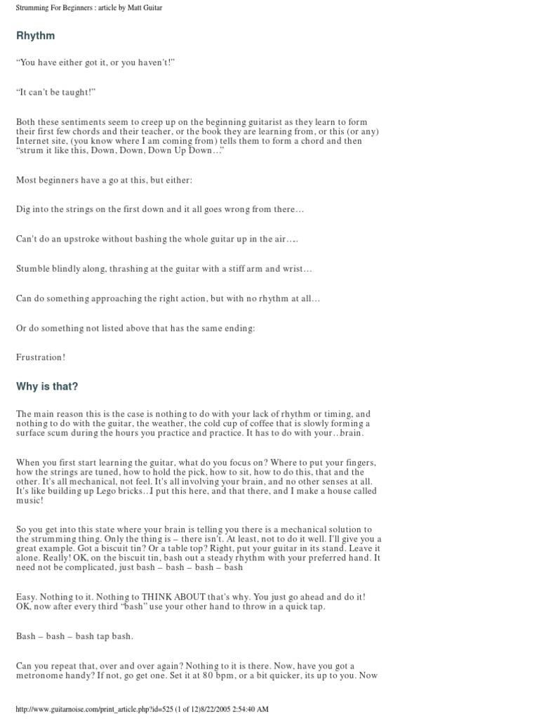 Strumming For Beginners Article By Matt Guitar Guitars String