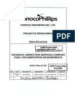 84501-9200-9L-008 Rev-0 Technical Inspection Services Company Final Documentation Requirements