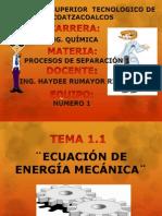 Exposicion Tema 1.1 Ecuacion de La Energía Mecanica
