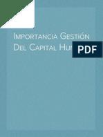 Importancia Gestión Del Capital Humano