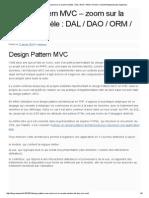 Design Pattern MVC – Zoom Sur La Couche Modèle _ DAL _ DAO _ ORM _ CRUD