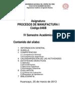 Silabo Procesos de Manufactura i Semestre Academico 2012-II