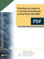 Resolutions Des Congres de Lassociation Internationale de Droit Penal