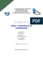Informe. Práctica N° 7 CARGA Y DESCARGA DE UN CONDENSADOR