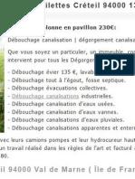 Debouchage Canalisation Creteil 94000  135€ 0143757245