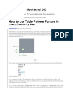 How to Use Table Pattern Feature in Creo Elements Pro
