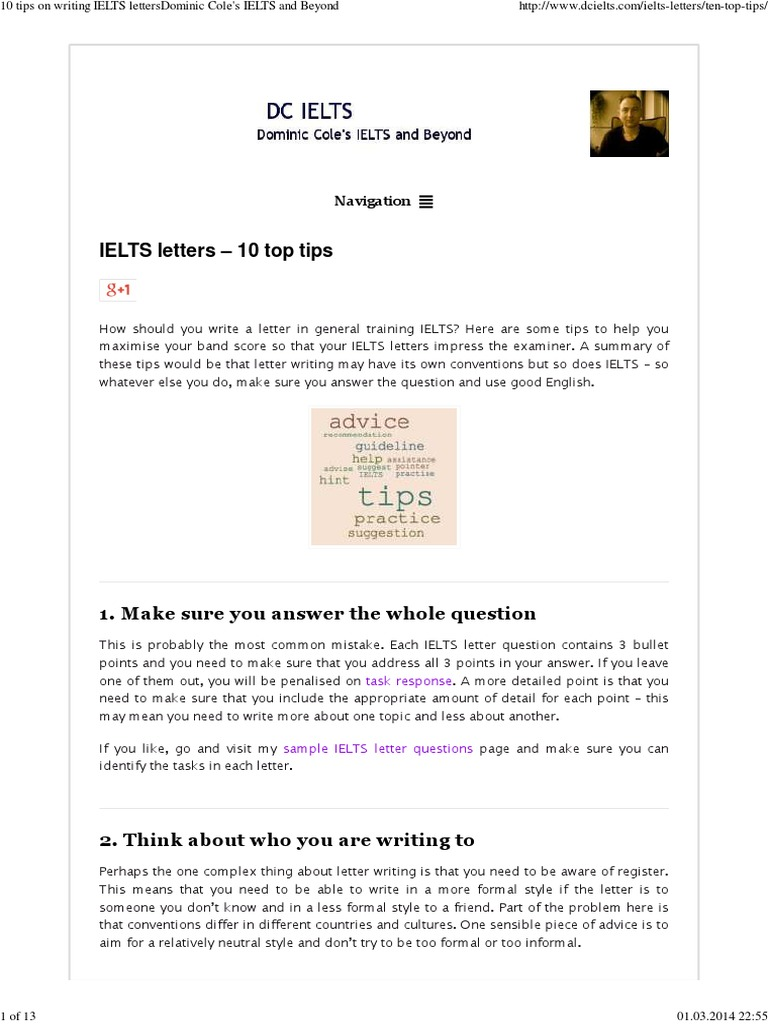 10 tips on writing ielts lettersdominic coles ielts and beyond international english language testing system ellipsis