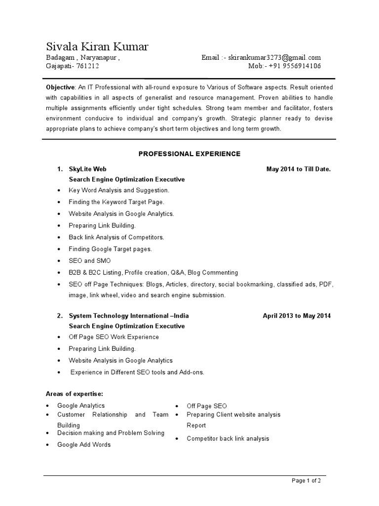 resume of seo executive  world wide web  technology