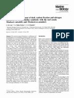 Cook Et Al. 1994 Ammonium Enhancement of Dark Carbon Fixation and Nitrogen Limitation in Zooxanthellae Symbiotic With the Reef Corals