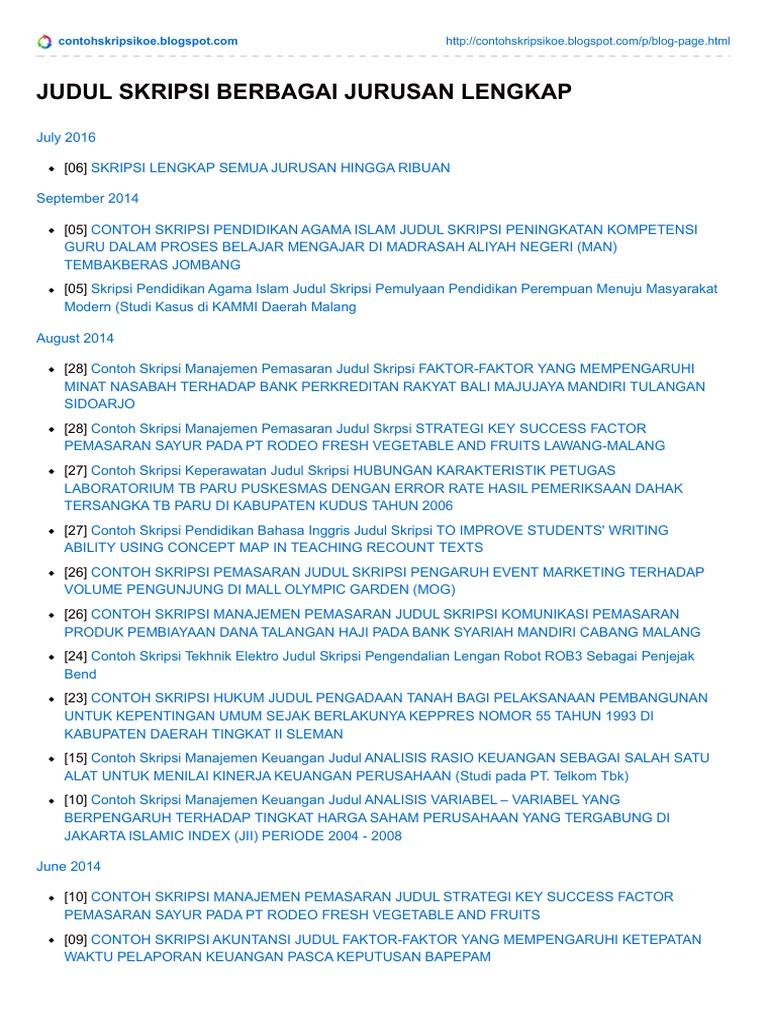 Judul Skripsi Berbagai Jurusan Lengkap Download