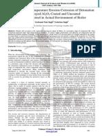 2014 to Study High Temperature Erosion-Corrosion of Detonation 1111111111111111111111111