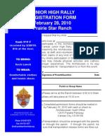 Junior High Rally Registration Form February 28, 2010 Prairie Star