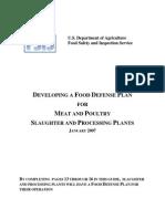 USDA Food Defense Plan