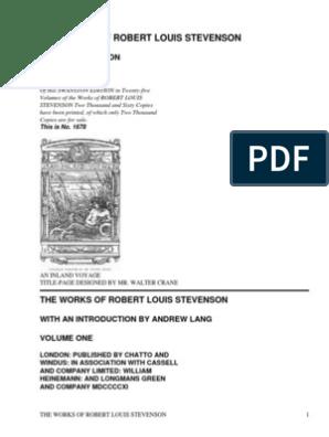 The Works Of Robert Louis Stevenson Swanston Editionvol 1 Of 25 By Stevenson Robert Louis 1850 1894 Pdf Robert Louis Stevenson Treasure Island