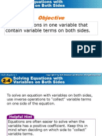 day 11 solving equations with variables on both sides