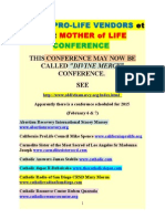 "List of Pro-life Vendors at Mother of Life (now called ""Divine Mercy""?) Conference"