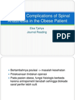 Procedural Complications of Spinal Anasthesia in the Obese