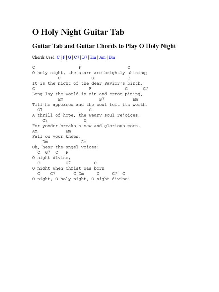 O Holy Night Guitar Tab   PDF