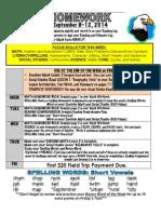 3rd week of school hmwk sept 8-12 2014