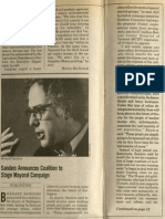 Sanders Announces Coalition to Stage Mayoral Campaign | Vanguard Press | Dec. 23, 1980