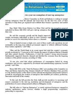 sept09.2014House leader seeks two-year tax exemption of start-up enterprises