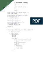 Quick Sort in c Programming Language