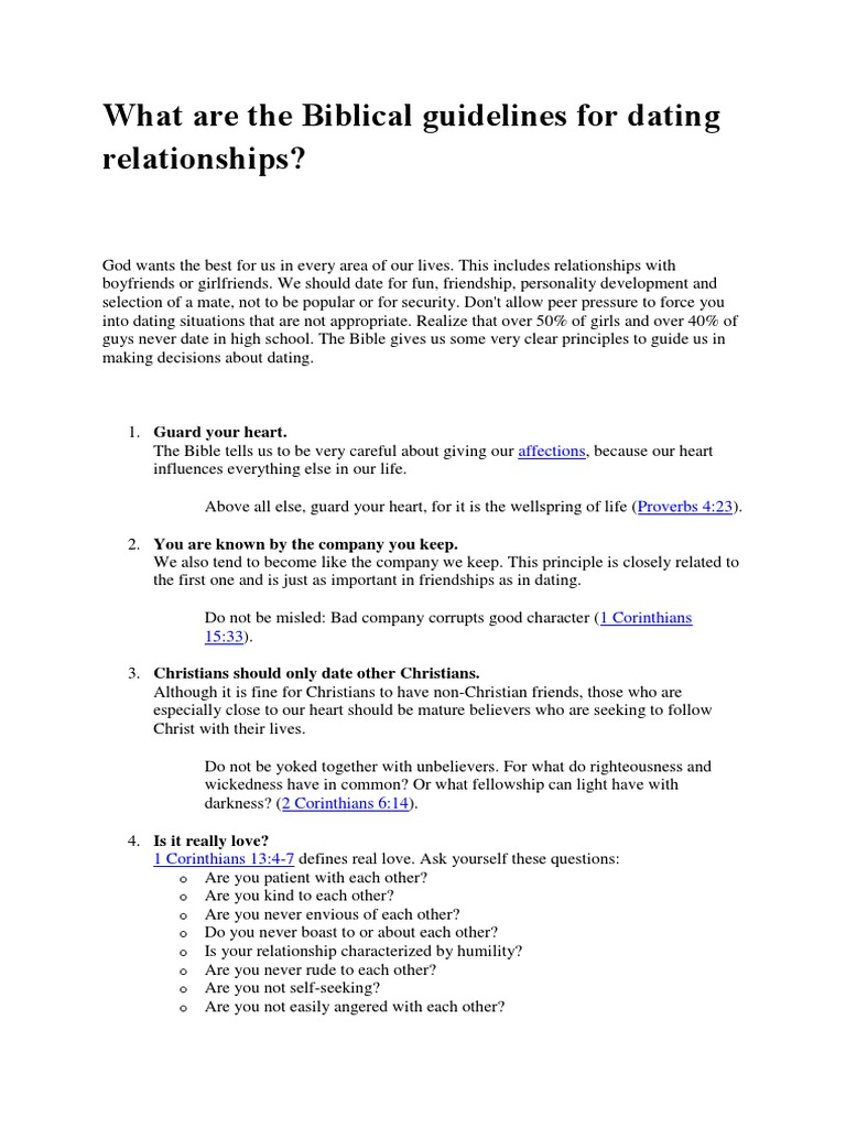 Christian dating biblical guidelines