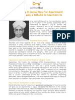 Teachers Day in India-Tips for Apartment Residents to Pay a Tribute to Teachers in the Society