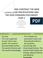 Compare and Contrast the Kbsr Curriculum Specifications And