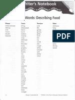 Sensory Words Describing Food