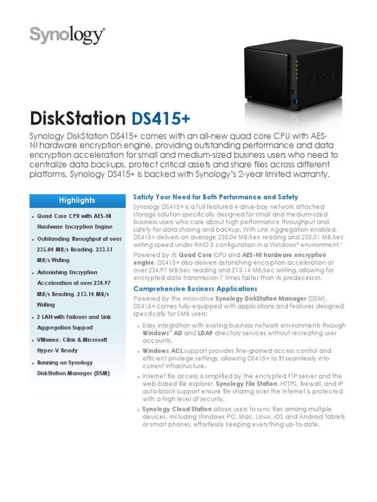 Synology DS415 Data Sheet Enu | File Transfer Protocol | Hyper V