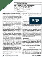 Longitudinal Study of Procrastination Baumeister