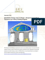 QE Comes to Europe - European Central Bank Announces New Money Printing Program - Gevers Wealth Management LLC  September 2014