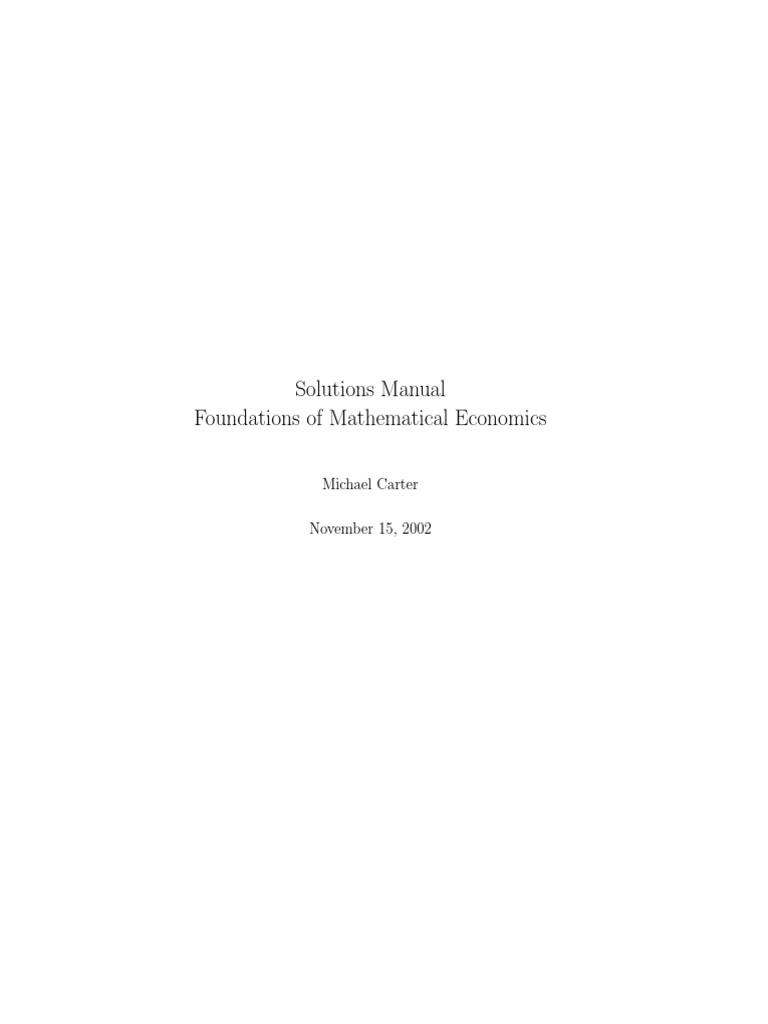 Foundation of Mathematical Economics Solutions | Mathematical Concepts |  Mathematical Analysis