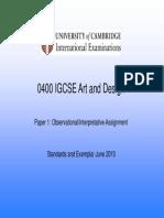 IGCSE O Levels Art & Design Standards