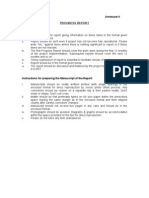 Annexure-V PROGRESS REPORT Important Points