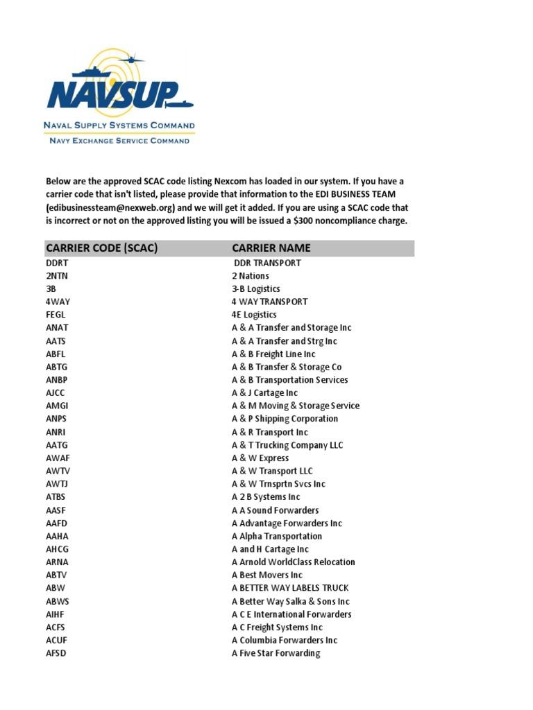 scac code listing - 2011