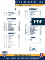 Oklahoma City Development Team 2014-15 Schedule
