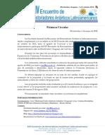 Primera Circular - Convocatoria a XIV EHAL - Uruguay 2014