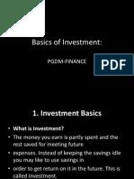 Basics of Investment- PGDM Finance