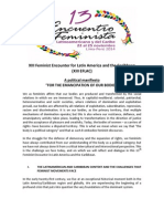 "Political Manifiesto ""For the emancipation of our bodies"" - 13 EFLAC"