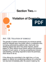 Report on VIOLATION OF DOMICILE