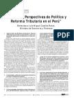 Balance y Perspectivas de Política y Reforma Tributaria en El Perú