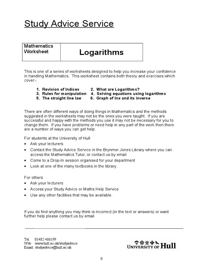 Logrithms Logarithm Mathematical Concepts