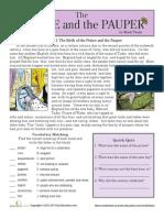 WORKSHEETeading Comprehension Prince Pauper Worksheet