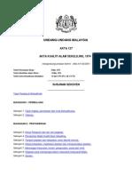 Akta Kualiti Alam Sekeliling 1974 - ACT 127