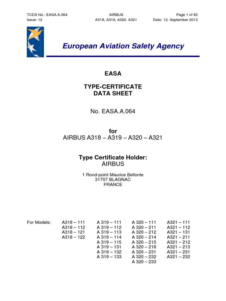 Easa Tcds A064 Airbus A318 A319 A320 A321 Single Aisle