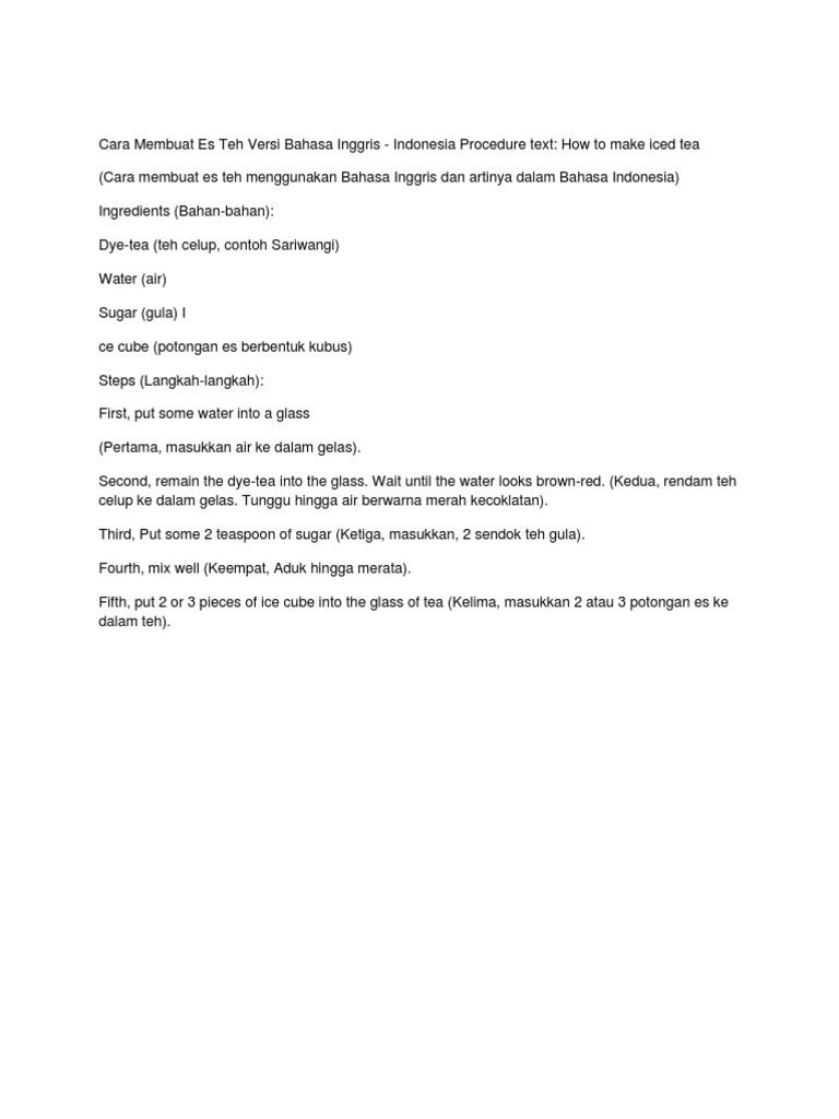 Cara Membuat Es Teh Versi Bahasa Inggris