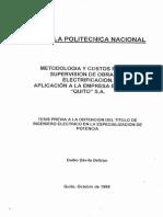 Metodologia y Costos Para Supervision de Obras de Electrificacion.
