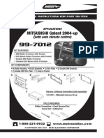 MITSUBISHI Galant 2004-up INSTALLATION INSTRUCTIONS FOR PART 99-7012